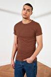 Kahverengi Basıc Erkek Slim Fit T-Shirt Pamuklu Kısa Kollu Bisiklet Yaka T-Shirt TMNSS19BO0001