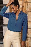 Kadın Lacivert Basic Gömlek
