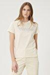 Kadın Huş Ağacı Rengi Kısa Kollu %100 Pamuk Logolu Sıfır Yaka Tişört