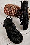 Siyah Kadın Hasır Sandalet K05787020476