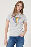 Kadın Sıcak Gri Kısa Kollu %100 Pamuk Grafik Desenli Sıfır Yaka Tişört