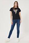 Kadın Koyu Mavi Skinny Fit Denim Esnek Jean Kot Pantolon