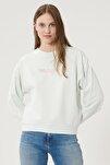 Kadın Açık Yeşil Regular Fit %100 Pamuk Sıfır Yaka Sweatshirt