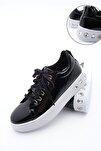 Kadın Kalın Taban Sneaker Spor Ayakkabı Aportesiyah