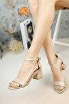 Kadın Bronz Tek Bant Topuklu Ayakkabı