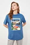 Mavi Baskılı Boyfriend Örme T-Shirt TWOSS20TS0491