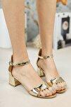 Gold Tek Bant Topuklu Ayakkabı