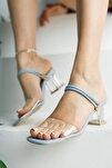 Kadın Mavi Şeffaf Topuklu Ayakkabı