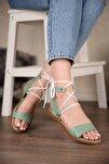 Kadın Yeşil Cilt Bağlamalı Sandalet