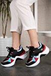 Kadın Siyah Kırmızı Sneaker