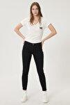 Kadın Antrasit High Rise Skinny Fit Denim Esnek Yüksek Bel Jean Kot Pantolon
