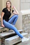 Kadın 4 Yönlü Streç Kumaş Yüksek Bel Geniş Kemerli Diz Izi Yapmayan Iç Göstermeyen Özel Üretim Tayt