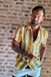 Hardal Erkek Regular Fit Apaş Yaka Desenli Kısa Kol Dökümlü Gömlek TMNSS20GO0578