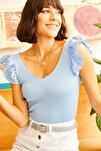 Kadın Omzu Fırfır Detaylı V Yaka Triko Bluz