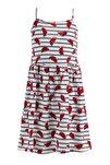 Kız Çocuk Karpuz Desenli Askılı Örme Elbise