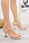 Kadın Beyaz Şeffaf Bant Topuklu Ayakkabı