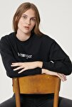 Kadın Siyah Regular Fit %100 Pamuk Sıfır Yaka Sweatshirt