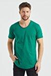 Erkek Yeşil Çimen Yeşili Pis Yaka Salaş T-shirt
