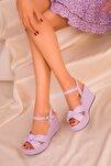 Lila Kadın Dolgu Topuklu Ayakkabı 16259