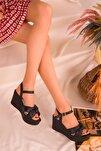 Siyah Kadın Dolgu Topuklu Ayakkabı 16259