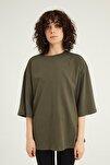 Kadın Haki Truvakar Kol Basic Oversize T-Shirt