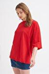 Truvakar Kol Basic Oversize Tişört Kırmızı