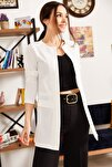 Kadın Ekru Beli Dikişli Uzun Ceket ARM-18K001308
