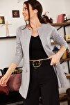 Kadın Gri Beli Dikişli Uzun Ceket ARM-18K001308