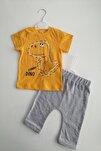 Erkek Bebek Sarı Renk Dinazor Baskılı 100% Pamuk Alt Üst Takım