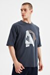 Lacivert Erkek Kısa Kollu Oversize Fit Baskılı T-Shirt TMNSS21TS1075