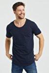 Erkek Koyu Lacivert Pis Yaka Salaş T-shirt