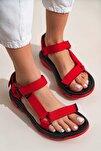 Kadın Kırmızı Step Bayan Cırtlı Trekking Sandalet