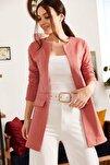 Kadın Gül Kurusu Beli Dikişli Uzun Ceket ARM-18K001308