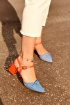 Kadın Mila Turuncu Mat Mavi Ekose Topuklu Ayakkabı