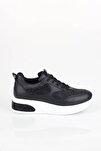 Dolgu Topuklu Siyah Sneaker Baskılı Spor Ayakkabı - Mildy