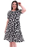 Kadın Büyük Beden Desenli Kısa Kol Elbise