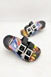Erkek Çocuk Araba Figürlü Yeni Sezon Kaydırmaz Terlik Modeli - Siyah