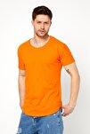 Erkek Koyu Turuncu Pis Yaka Salaş T-shirt-tcps001r52m