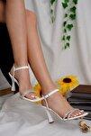 Kadın Beyaz Simli Topuklu Ayakkabı