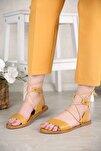 Kadın Hardal Cilt Bağlamalı Sandalet
