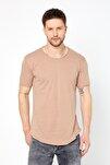 Erkek Krem Pis Yaka Salaş T-shirt