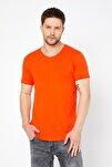 Erkek Oranj Pis Yaka Salaş T-shirt