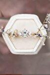 Mistik Topaz Beyaz Taşlı Ayarlanabilir 14 K Rose Altın Kaplama Kadın Yüzük