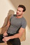 Antrasit Erkek Basic Pamuklu Kısa Kollu Slim Fit T-Shirt - TMNSS19BO0001