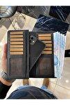 Telefon Bölmeli Cüzdan Hakiki Deri Marka 2005 Mat Sıyah