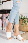 Kadın Beyaz Topuklu Triko Terlik