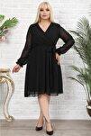 Kadın Büyük Beden Siyah Kruvaze Yaka Astarlı Şifon Elbise