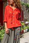Kadın Kırmızı Yıkamalı Keten Fileli Yıldız Pullu Kapüşonlu Bluz GK-RSD2046