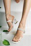 Beyaz Şeffaf Terlik Ve Sandalet Topuklu Ayakkabı