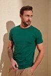 Yeşil Erkek Basic Pamuklu Kısa Kollu Slim Fit T-Shirt TMNSS19BO0001